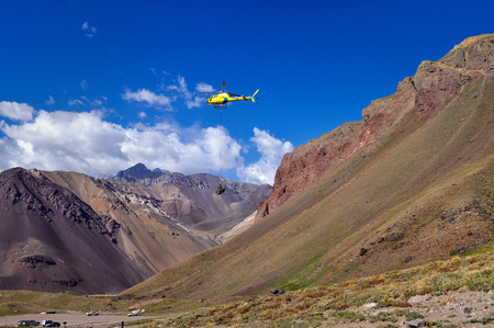 aconcagua: Mendoza, Argentina - Jan 25, 2010: Rescue helicopter at Aconcagua Provincial Park. Aconcagua is the highest mountain in the Americas at 6960m.