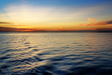 equator: Beautiful sunset at the equator. View from ferry
