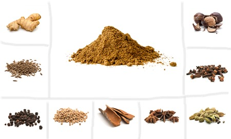 garam: Pile of Garam Masala and Ingredients: dry ginger, cumin seeds, black pepper, coriander, cinnamom, anise, cardamon, cloves, nutmeg on white background. Indian spice mix Stock Photo