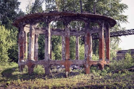 metallurgical: Ruin of old cooling tower on Mining and metallurgical plant Editorial