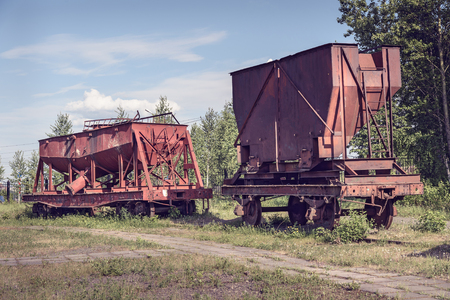 metallurgical: Old industrial railway cars on on Mining and metallurgical plant