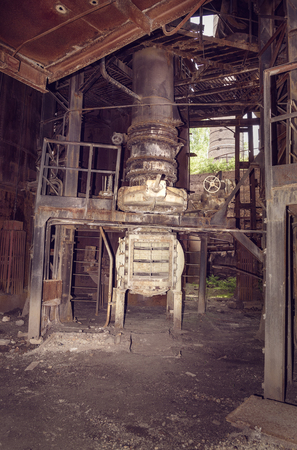 metallurgical: Old mechanism in blast furnace workshop on Mining and metallurgical plant