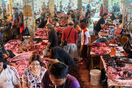 terribly: Tomohon, Indonesia - Dec 23, 2015: Meat of pork, wild boars, dogs, rats, bats in Tomohon Traditional Market. North Sulawesi