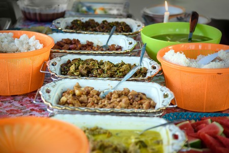 indonesian food: Traditional Indonesian food on the table