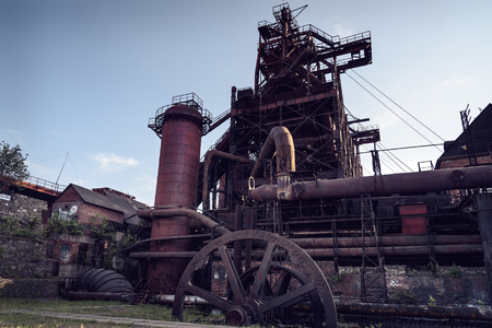 metallurgical: View of old blast furnace on Mining and metallurgical plant
