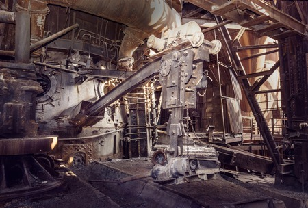 metallurgical: Old devices for opening the iron taphole in blast furnace workshop on Mining and metallurgical plant