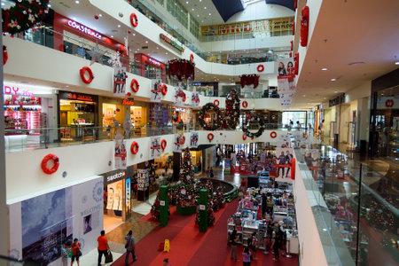 merdeka: Kuching, Malaysia - Dec 29, 2015: Christmas decorations in shopping centre Plaza Merdeka. Sarawak. Borneo Editorial