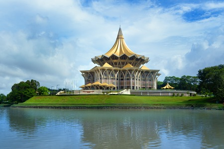 Sarawak State Legislative Assembly, Dewan Undangan Negeri in Kuching. Sarawak. Malaysia. Borneo 免版税图像