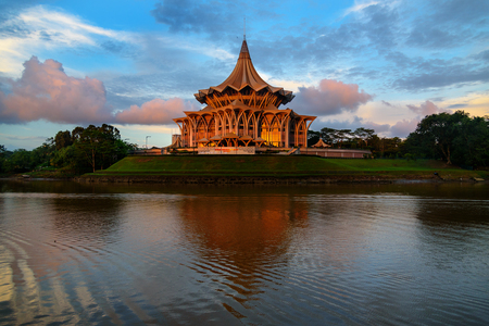 legislative: Kuching, Malaysia - Dec 30, 2015: Sarawak State Legislative Assembly, Dewan Undangan Negeri at sunset. Sarawak Borneo Editorial