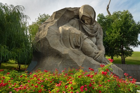 Volgograd, Russia - August 31, 2016: Sculpture The mothers grief in the square of Sorrow. Memorial complex Mamayev Kurgan Editorial