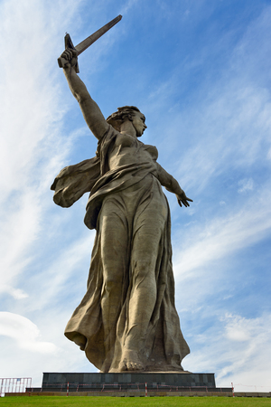 Volgograd, Russia - August 31, 2016: Motherland Calls monument. Memorial complex Mamayev Kurgan. Total height of sculpture together with sword -85 metres.Total weight of construction - 8 thousand tons