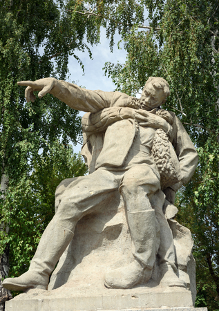 mortally: Volgograd, Russia - August 31, 2016: Depicting the mortally wounded commander who will conduct a battle to the last on Square of Heroes. Memorial complex Mamayev Kurgan
