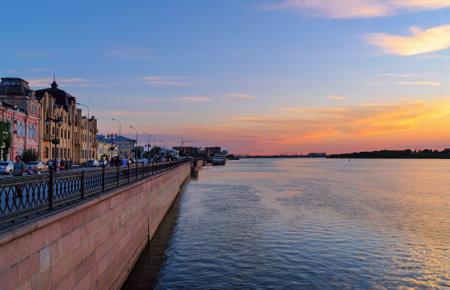 the volga river: Astrakhan, Russia - September 05, 2016: Volga embankment at sunset. Astrakhan is city in southern Russia The city is on banks of the Volga River Editorial