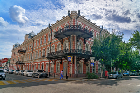 river banks: Astrakhan, Russia - September 06, 2016: View of old buildings. Astrakhan city in southern Russia The city is on banks of the Volga River