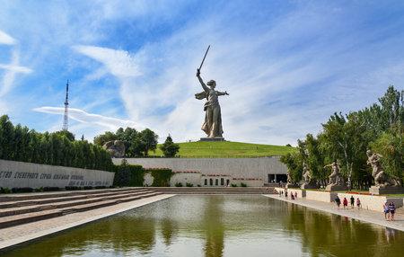 Volgograd, Russia - August 31, 2016: Square of Heroes.Memorial complex Mamayev Kurgan in Volgograd. Mamayev Kurgan memorial complex dominated by the statue of Motherland Calls