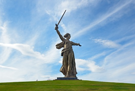 Volgograd, Russia - August 31, 2016: Motherland Calls monument. Memorial complex Mamayev Kurgan. Total height of sculpture together with sword -85 metres.Total weight of construction -8 thousand tons