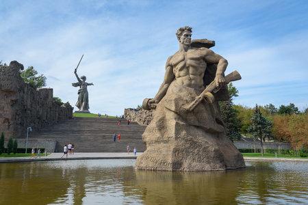 volgograd: Volgograd, Russia - August 31, 2016: Standing to the Death Square. Memorial complex Mamayev Kurgan in Volgograd. Mamayev Kurgan memorial complex dominated by the statue of Motherland Calls