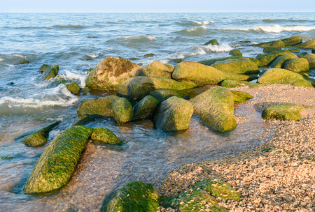dagestan: Beach of the Caspian Sea. Derbent. Republic of Dagestan, Russia Stock Photo