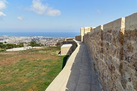 Wall in Naryn-Kala fortress View of Derbent city. Republic of Dagestan, Russia