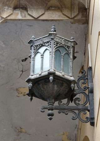 baku: Old lamp on street in Old city, Icheri Sheher. Baku, Azerbaijan. Stock Photo