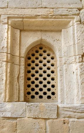 baku: Brick Wall with window in Old city, Icheri Sheher is the historical core of Baku. Azerbaijan. World Heritage Site by UNESCO