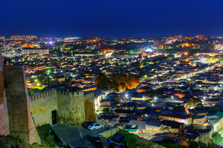 dagestan: View of Derbent city from Naryn-Kala fortress at night. Republic of Dagestan, Russia Stock Photo