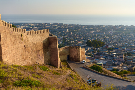 dagestan: Wall of Naryn-Kala fortress View of Derbent city. Republic of Dagestan, Russia Stock Photo