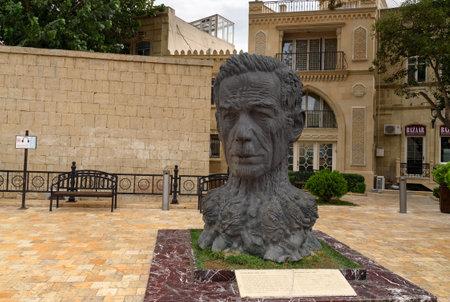 Baku, Azerbaijan - September 10, 2016: Monument to Azerbaijani poet Aliaga Vakhid in Old city, Icheri Sheher is the historical core of Baku.