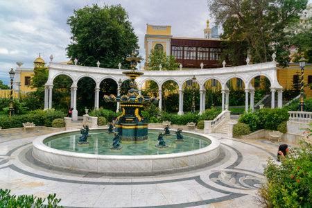 baku: Baku, Azerbaijan - September 11, 2016: Philharmonic Fountain Park. Azerbaijan State Philharmonic Hall is the main concert hall in Azerbaijan built in 1912 Editorial