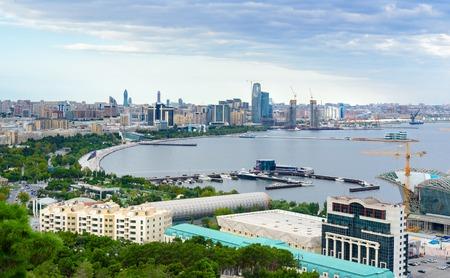 View of the city boulevard in the evening. Baku. Azerbaijan