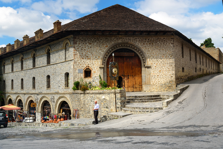 Sheki, Azerbaijan - September 13, 2016: Upper caravanserai is a historical monument in Sheki 18th-19th centuries. It was used by merchants to store their goods in cellars, who traded on the first floor, and lived on the second