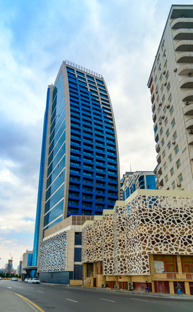 Baku, Azerbaijan - September 12, 2016: Building of multifunctional complex Azur. Former name New Life City, Yeni Hayat. It consisting of business center, residences and shopping and entertainment center Editöryel