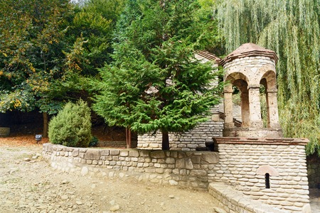 Chapel of St. Zabulon and St. Sosana and house St. Ninos Spring in Monastery of St. Nino at Bodbe. Cathedral was constructed in IV century, on the tomb of St. Nino. Sighnaghi. Kakheti region. Georgia Stock Photo