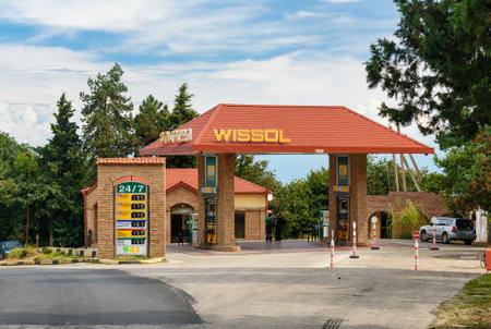 Signagi, Georgia - Sent 16, 2016: Wissol petrol station on the road in mountains at Kakheti region