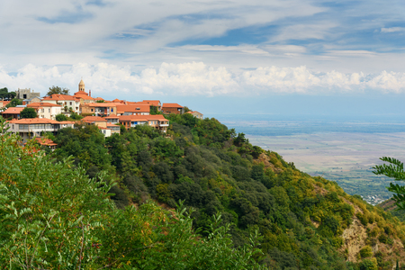 View of Signagi or Sighnaghi city in mountains at Kakheti region. Georgia Stock Photo