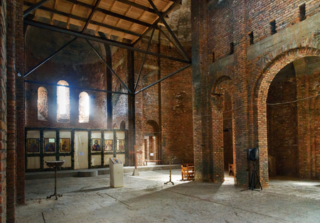 Signagi, Georgia - Sent 16, 2016: Inside of St.Ninos church under construction in Monastery of St. Nino at Bodbe. Cathedral was constructed in IV century, on the tomb of St. Nino. Sighnaghi. Kakheti region. Georgia.