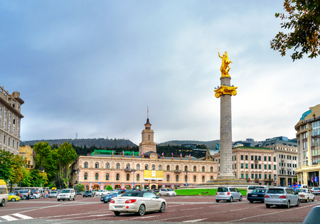 Tbilisi, Georgia - September 23, 2016: Freedom square with Monument of St. George. Tbilisis central square, the monument of granite and gold is 35 metreshigh[ Editorial