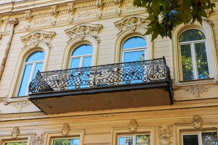 rustaveli: Traditional old balcony of house on Rustaveli Avenue in Tbilisi. Georgia.