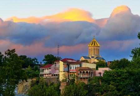 Holy Trinity Cathedral, Sameba Cathedral on sunset. Tbilisi, Georgia