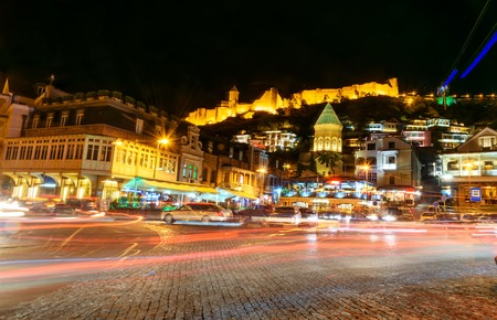 Tbilisi, Georgia - September 24, 2016: Viev of Old city with shops, restaurants and cafes at night