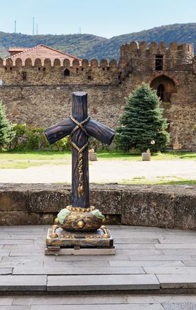 Stone Cross on churchyard in Svetitskhoveli Cathedral at in historic town of Mtskheta, Georgia