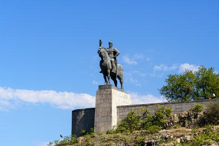 Tbilisi, Georgia - September 27, 2016: Statue of King Vakhtang Gorgasali on sky background Editorial