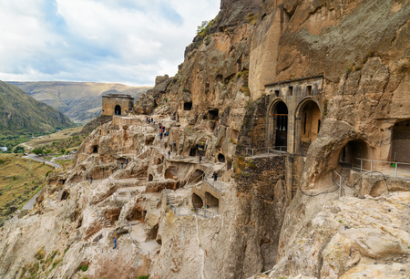 View on Vardzia cave monastery, complex of carved in rock . Georgia