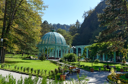 Borjomi, Georgia - October 02, 2016: Blue pavilion with hot source in Mineral water park