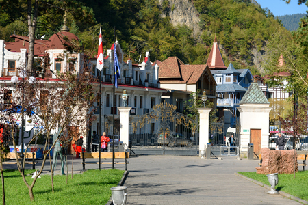 Borjomi, Georgia - October 02, 2016: Entrance to Mineral water park