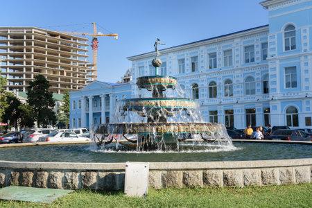 Batumi, Georgia - October 04, 2016: Fountain in front of Batumi Shota Rustaveli State University Editorial