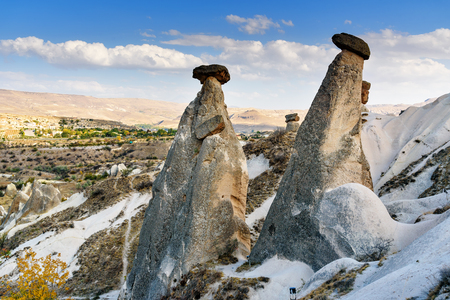 rock formation: View of Fairy chimneys near Urgup in Cappadocia. Nevsehir Province. Turkey