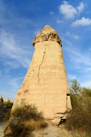 Rock formation in Love valley. Cappadocia. Nevsehir Province. Turkey
