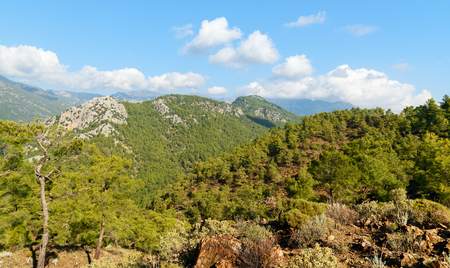 gas fireplace: View on mountains from Chimaera Mount. Turkey Stock Photo