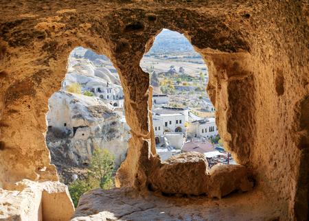 View through carved cave window. Church of St. John the Baptist (Vaftizci Yahya Kilisesi) in Cavusin. Cappadocia. Nevsehir Province. Turkey